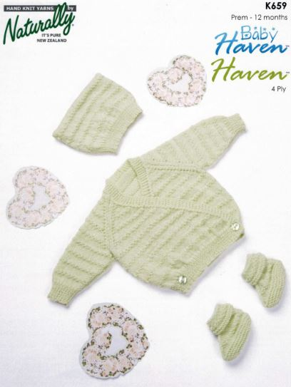 Baby Crossover Cardigan in Moss Stitch